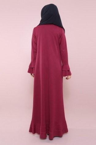 Fırfırlı Ferace Elbise-7975-5 - Thumbnail