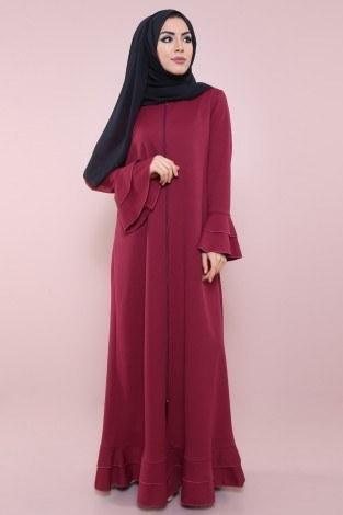 - Fırfırlı Ferace Elbise-7975-5