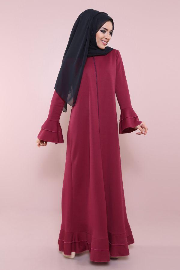 Fırfırlı Ferace Elbise-7975-5