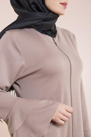Fırfırlı Ferace Elbise-7975-6 (1)