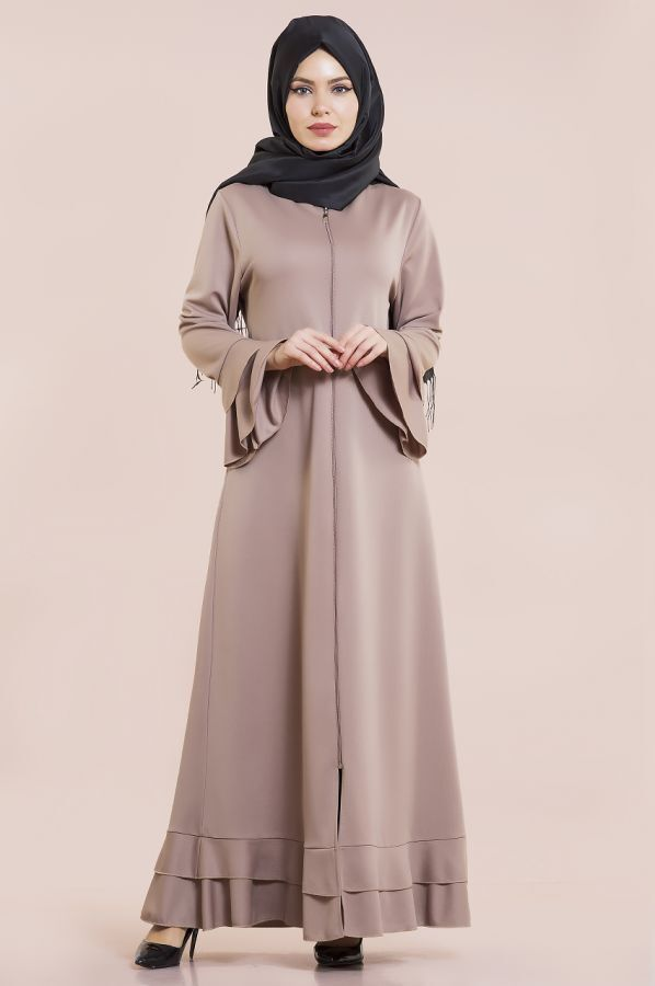 Fırfırlı Ferace Elbise-7975-6
