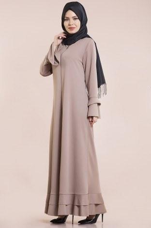 Fırfırlı Ferace Elbise-7975-6 - Thumbnail
