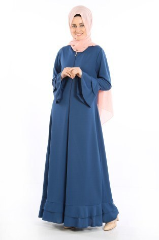Fırfırlı Ferace Elbise-7975-7 - Thumbnail