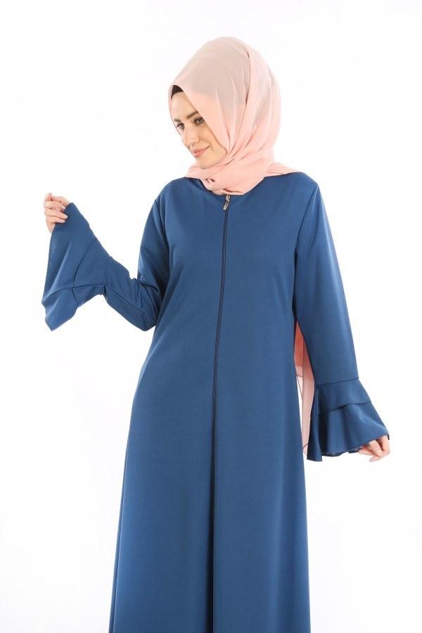 Fırfırlı Ferace Elbise-7975-7