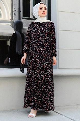 - FRZ Çiçek Desenli Elbise 17646-12 Siyah