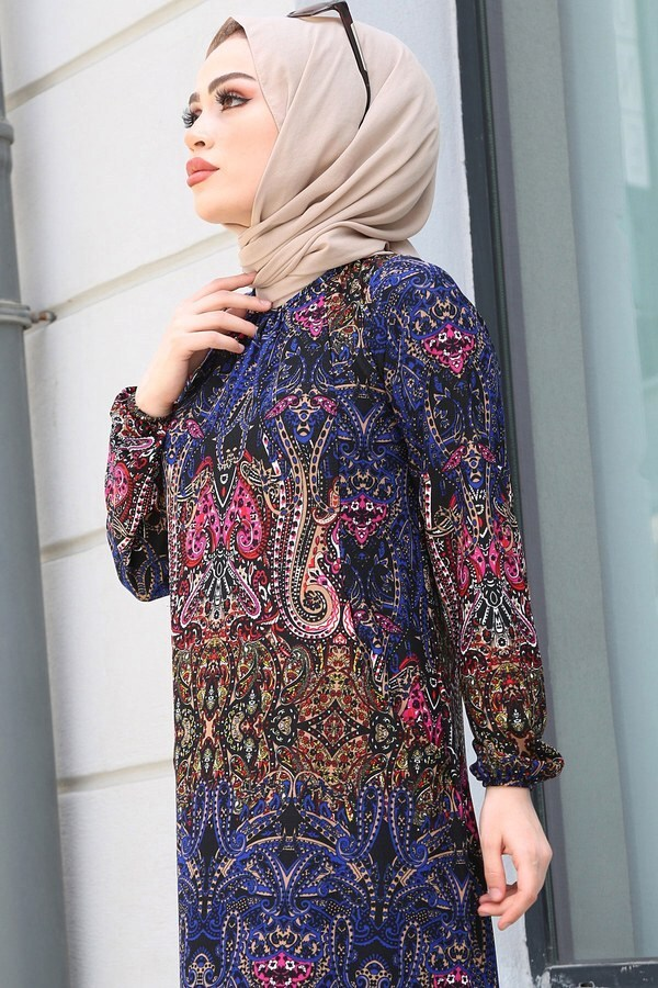 FRZ Şal Desenli Elbise 17646-7 Karışık Renk