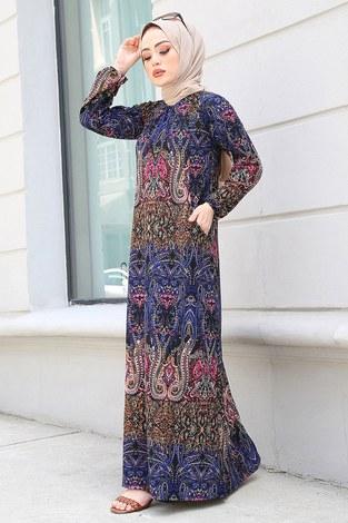 FRZ Şal Desenli Elbise 17646-7 Karışık Renk - Thumbnail