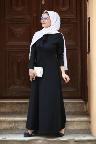 Fularlı Elbise MPR4465-12-siyah - Thumbnail