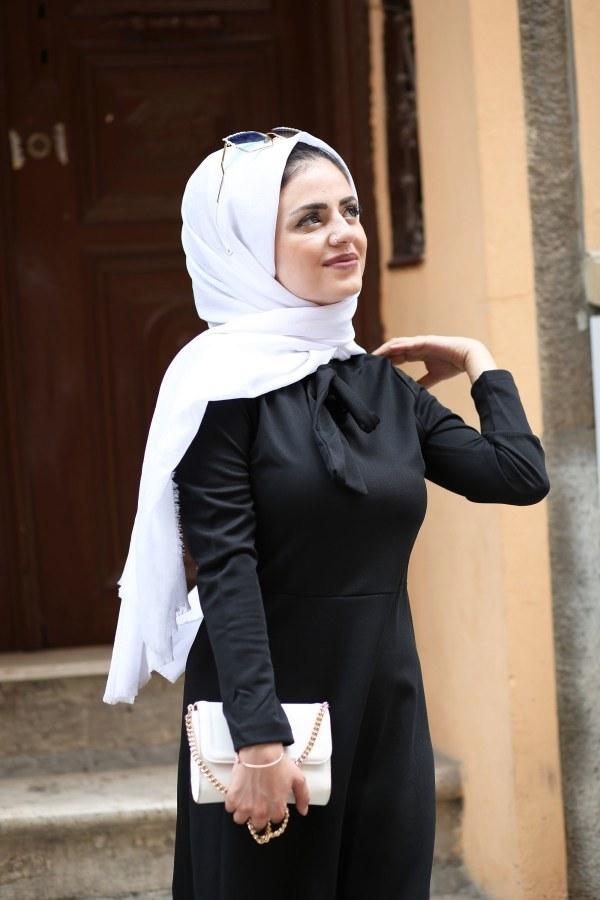 Fularlı Elbise MPR4465-12-siyah