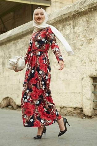 EMİR - Gelincik Desen Bel Büzgülü Elbise 260ER2454 Mercan (1)