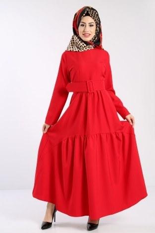 - Geniş Kemerli Elbise 3392-02
