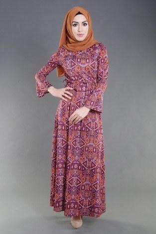 - Geometrik Desenli Renkli Elbise 8345-3