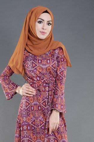- Geometrik Desenli Renkli Elbise 8345-3 (1)