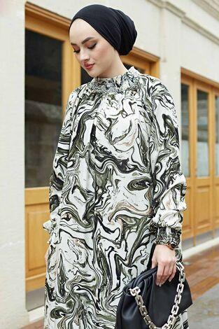 Gipeli Elbise 575M-2054 Haki - Thumbnail