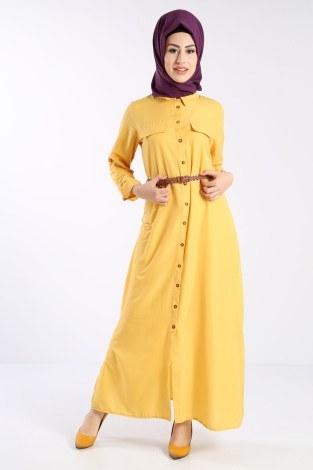 - Giy Çık Boydan Gömlek Elbise 1628-02