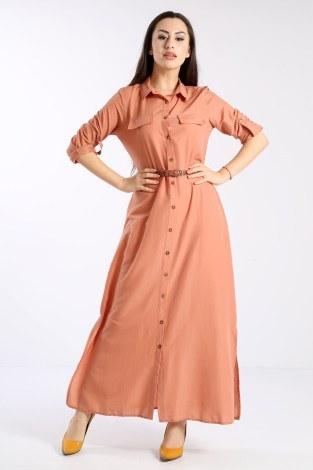 - Giy Çık Boydan Gömlek Elbise 1628-03