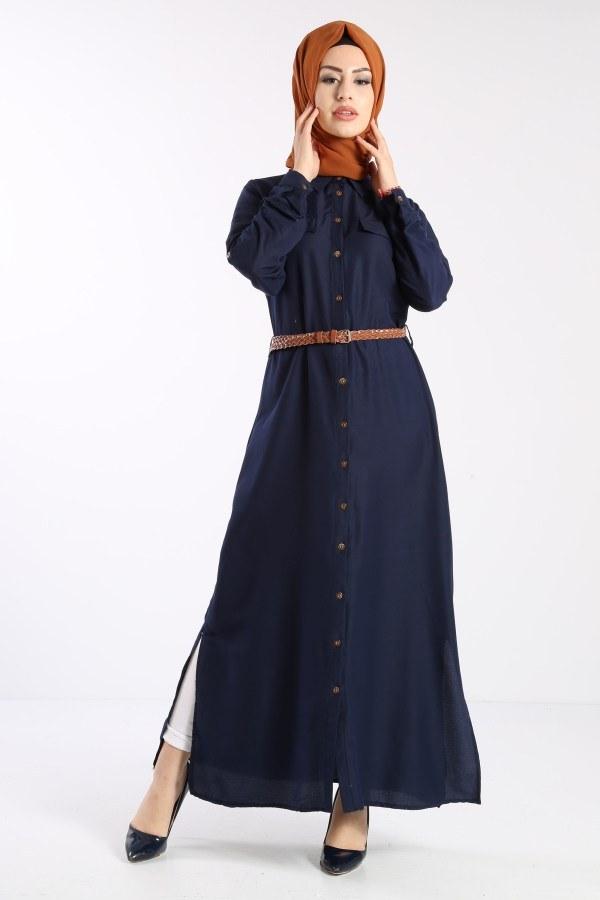 Giy Çık Boydan Gömlek Elbise 1628-04