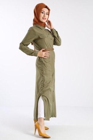 - Giy Çık Boydan Gömlek Elbise 1628-05