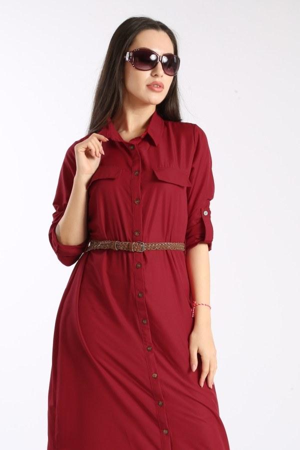 Giy Çık Boydan Gömlek Elbise 1628-06