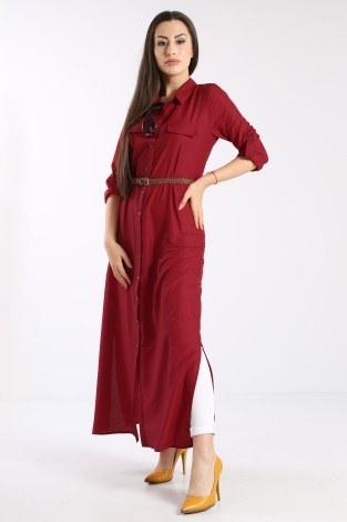 - Giy Çık Boydan Gömlek Elbise 1628-06