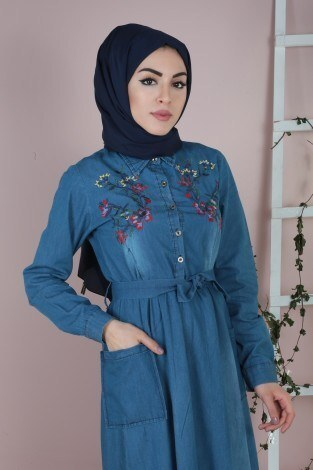 - Göğüs Kısmı Nakışlı Kot Elbise 8989-1 (1)
