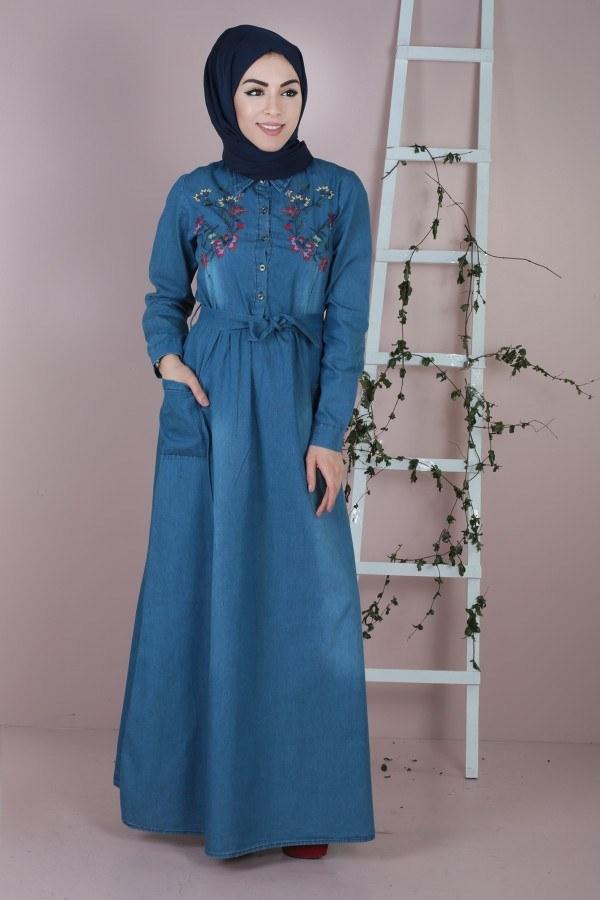 - Göğüs Kısmı Nakışlı Kot Elbise 8989-1