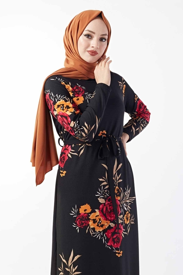 Gül Desenli Elbise 190E49321 Bordo