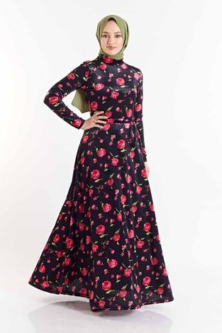SB - Gül Desenli Kadife Elbise 180SB8818 Lacivert-Pembe