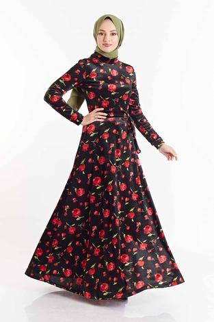 SB - Gül Desenli Kadife Elbise 180SB8818 Siyah-Kırmızı