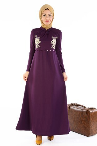 - Gül Nakışlı Taş Detaylı Elbise 1673-02