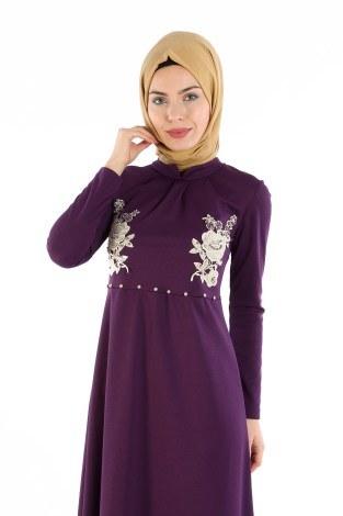 - Gül Nakışlı Taş Detaylı Elbise 1673-02 (1)