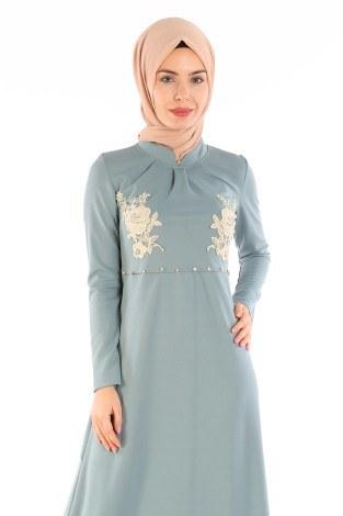 - Gül Nakışlı Taş Detaylı Elbise 1673-03 (1)