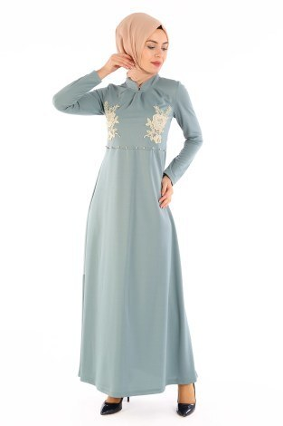 - Gül Nakışlı Taş Detaylı Elbise 1673-03
