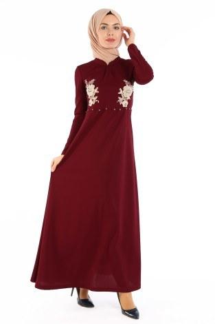 - Gül Nakışlı Taş Detaylı Elbise 1673-04