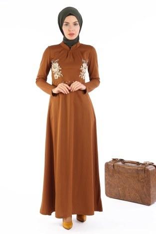 - Gül Nakışlı Taş Detaylı Elbise 1673-05
