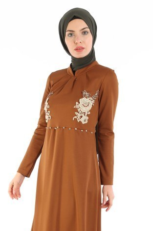 - Gül Nakışlı Taş Detaylı Elbise 1673-05 (1)