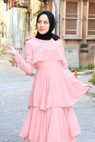 - Güpür Detaylı Şifon Abiye Elbise 5595-07 (1)