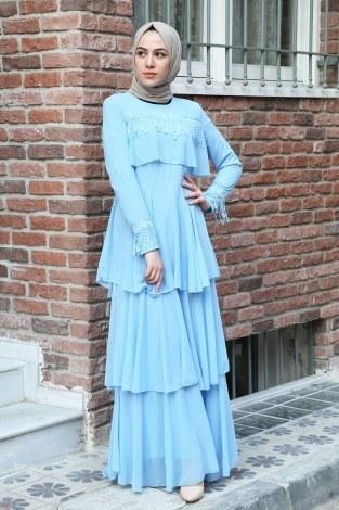 Güpür Detaylı Şifon Abiye Elbise 5595-03 - Thumbnail