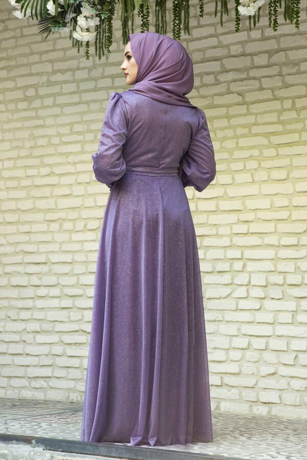 Güpür Detaylı Simli Şifon Tesettür Abiye Lavanta