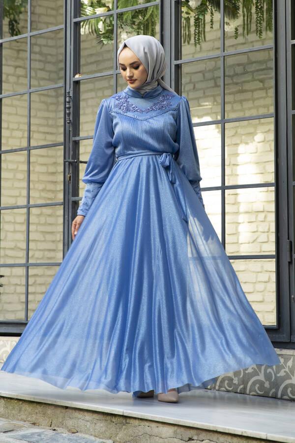 Güpür Detaylı Simli Şifon Tesettür Abiye Mavi
