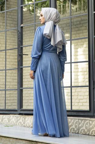 Güpür Detaylı Simli Şifon Tesettür Abiye Mavi - Thumbnail