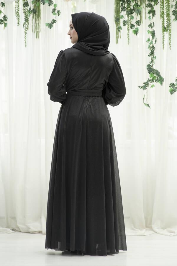 Güpür Detaylı Simli Şifon Tesettür Abiye Siyah