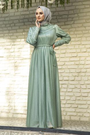 Güpür Detaylı Simli Şifon Tesettür Abiye Yeşil - Thumbnail