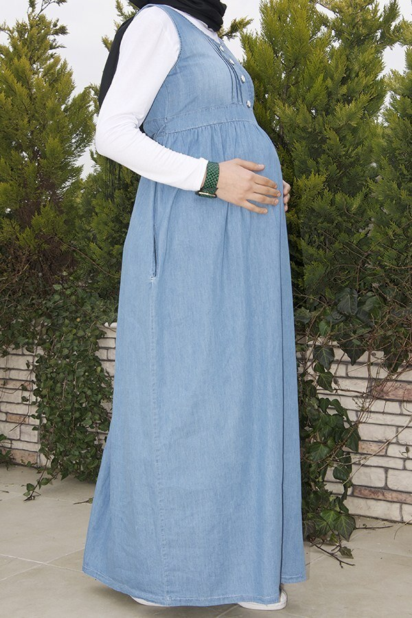- Hamile Düğmeli Açık Kot Elbise 8940-1 (1)