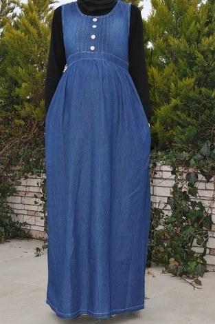 - Hamile Düğmeli Koyu Kot Elbise 8940-2
