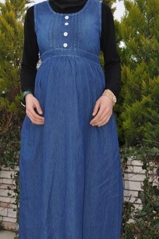 - Hamile Düğmeli Koyu Kot Elbise 8940-2 (1)