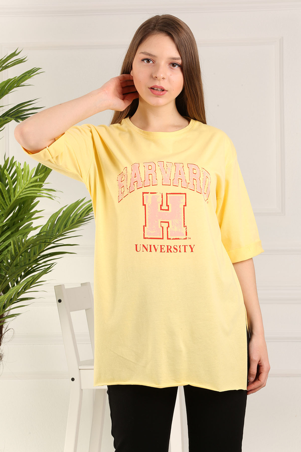 Harvard Yazılı tshırt 120NY-3543 Sarı