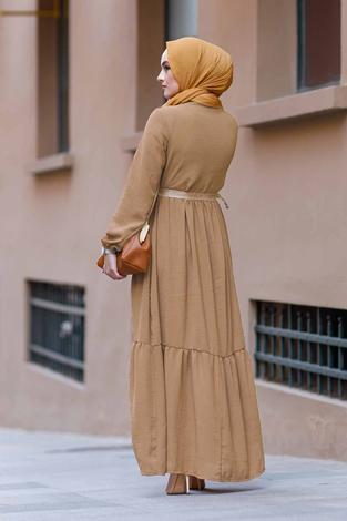 Hasır Kemerli Aerobin Elbise 180SB-9010 Bej - Thumbnail