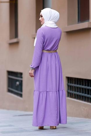 Hasır Kemerli Aerobin Elbise 180SB-9010 Lila - Thumbnail