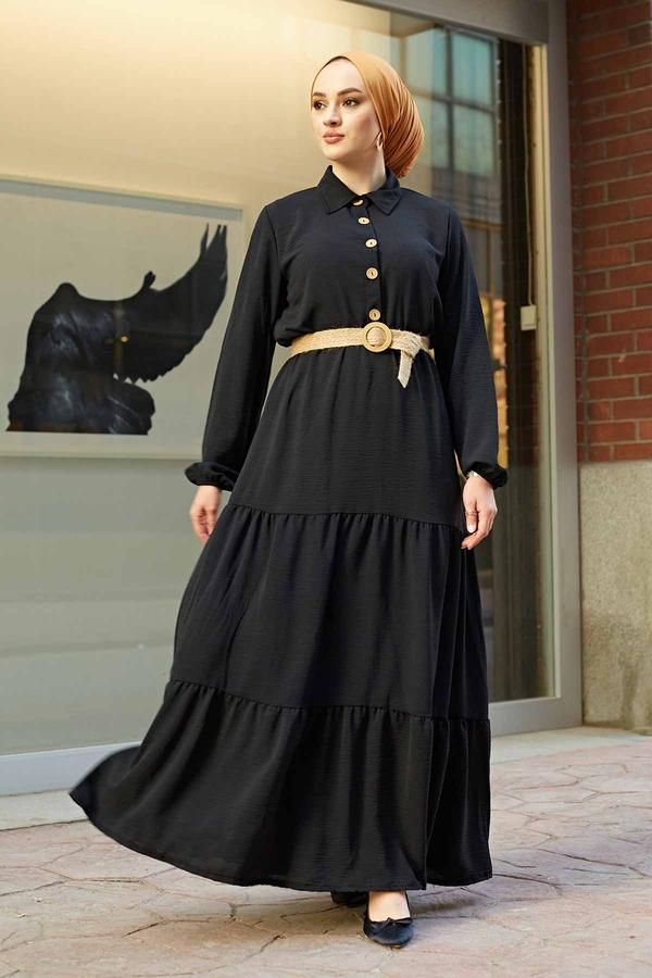 Hasır Kemerli Aerobin Elbise 180SB-9011 Siyah